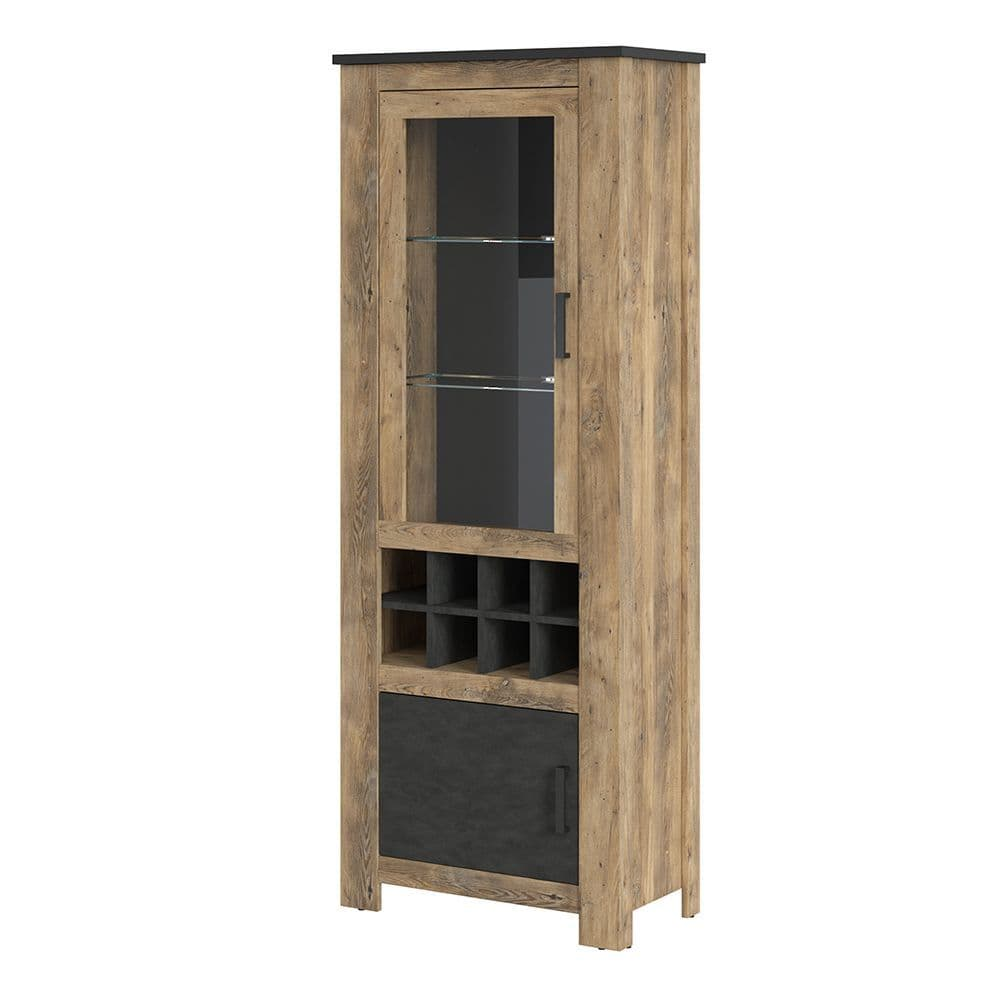 Revello 2 door display cabinet + wine rack in Chestnut & Matera Grey in Chestnut Brown